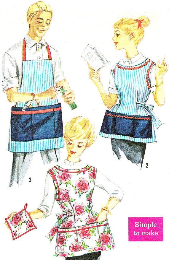 Unisex Apron Pattern Simplicity 3206 Mens Womens Full Bib Chef Apron ...