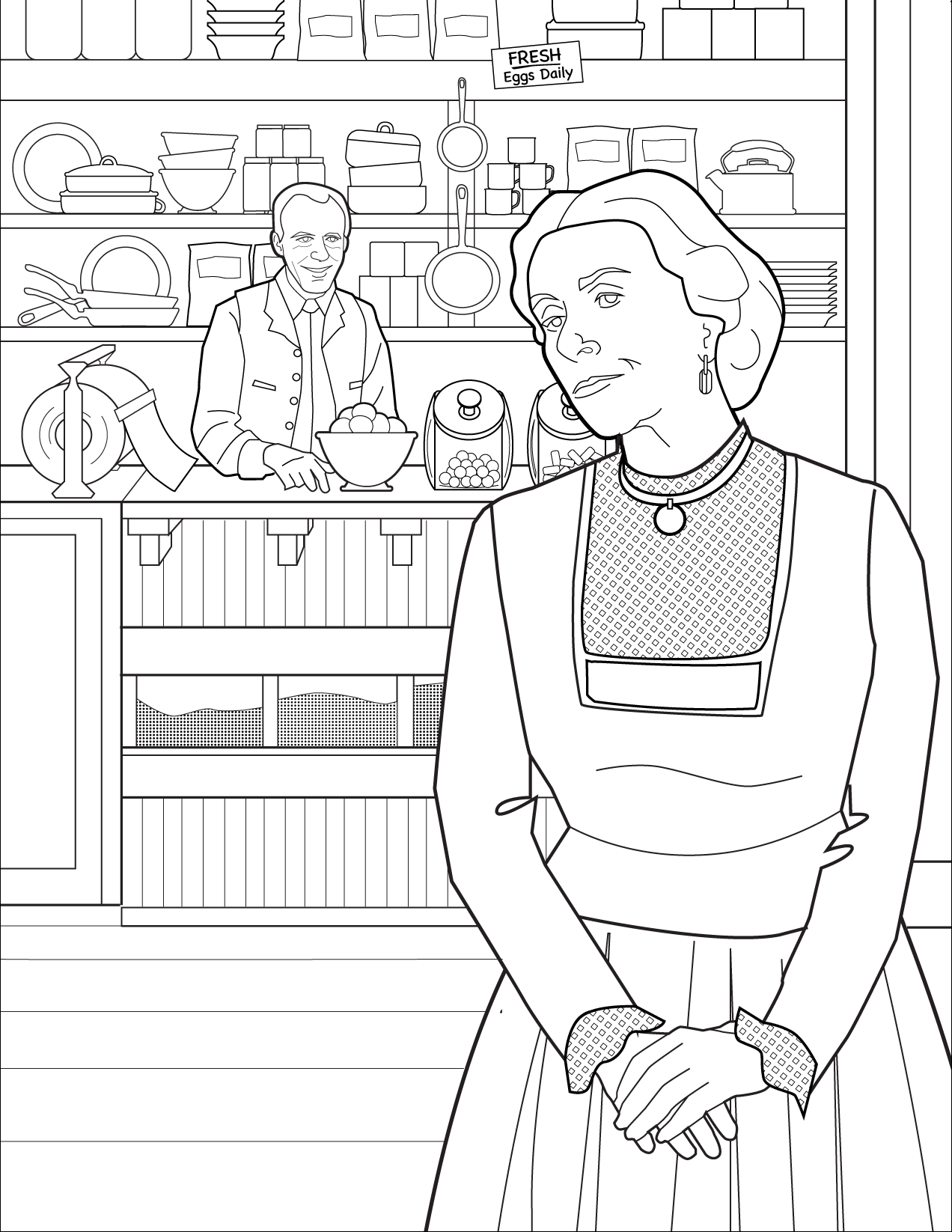 Harriet And Nels Oleson S Mercantile Colorig Page Coloring Pages Free Paper Models Color