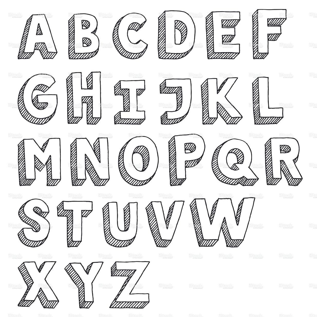 Hand-drawn vector drawing of an Sans Serif Alphabet