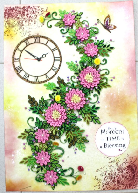 Paper quilling clock the size of this quilled wall clock is 16 x 24 paper quilling clock the size of this quilled wall clock is 16 x 24 inches the background is done using distress inks and stamped with leafy vines stamp mightylinksfo