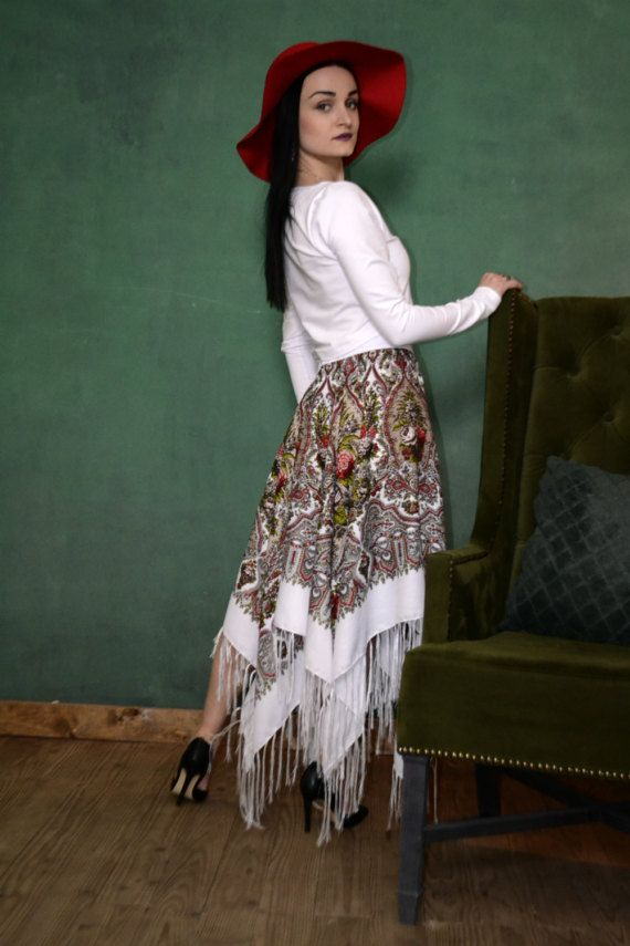 Boho Whit And Red Floral Skirt Fringe Maxi Tribal Clothing Rustic Style