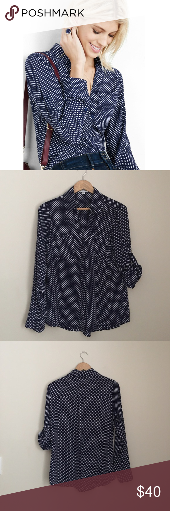NWOT Express Portofino Navy Polkadot Shirt This navy polkadot shirt by Express lends a little classic style to office ensembles and elegance to casual looks. The Portofino is a merger of classic shirt confidence and effortlessly sexy style in luxe semi-sheer crepe. Original fit Point collar, notch neckline, button front Long convertible sleeves, roll tabs, buttoned  Polyester Size Medium NWOT Express Tops Blouses