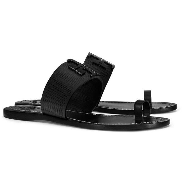 e58c8aa5f Tory Burch Lowell Perforated Toe-Ring Slide (£170) ❤ liked on Polyvore  featuring shoes