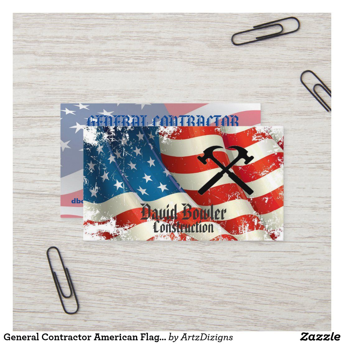 General Contractor American Flag Hammers Business Card Zazzle Com In 2020 Business Pens Unique Business Cards Zazzle Business Cards