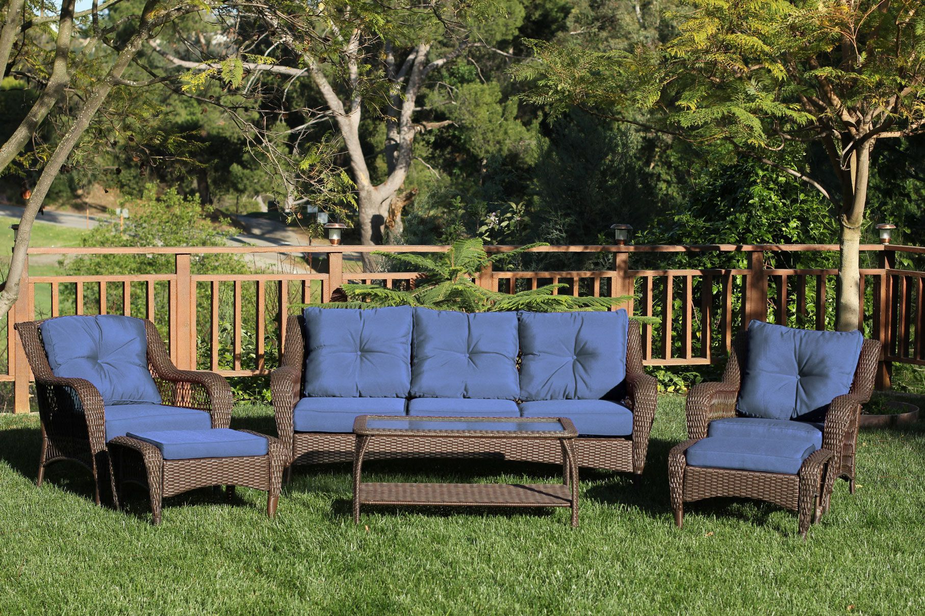 6 Piece Wicker Seating Group with Cushions