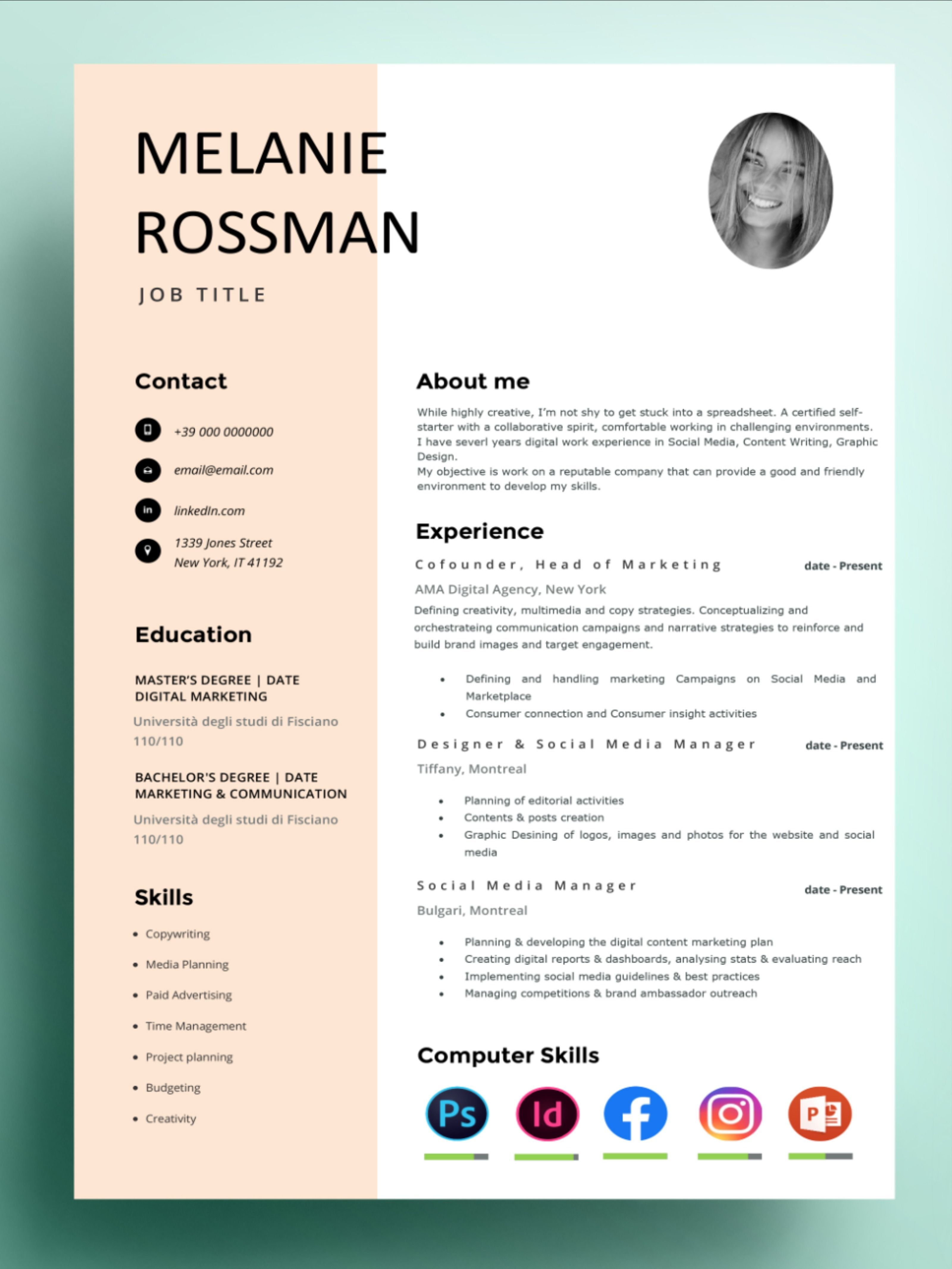 Resume template new york cv template hire me store