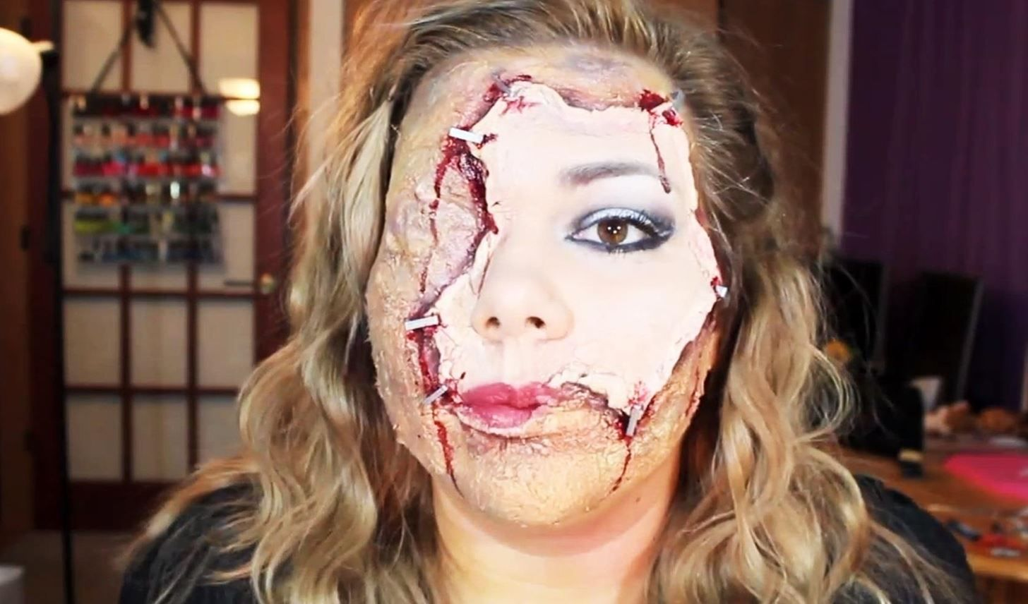Horrifying halloween makeup diy scarred face with flayed human skin face solutioingenieria Image collections