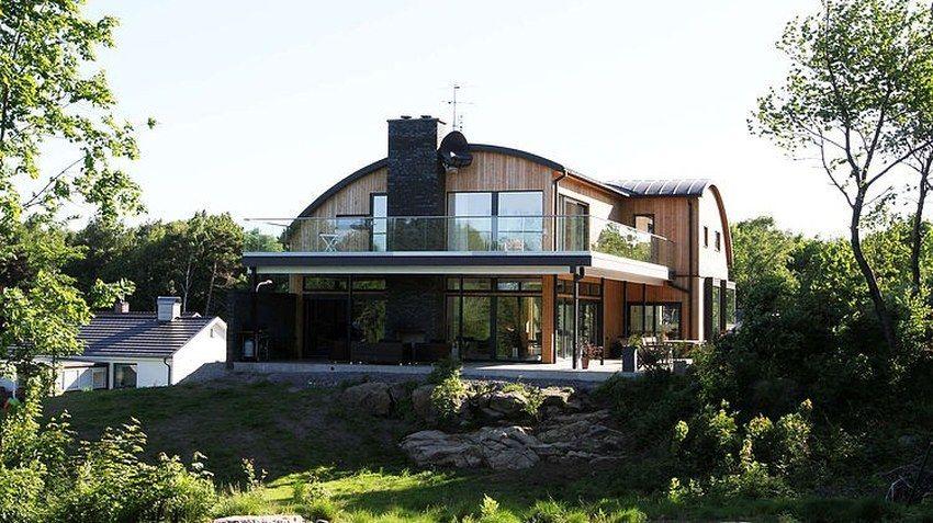 une maison bois contemporaine au toit vout la d coration minimaliste wood on house. Black Bedroom Furniture Sets. Home Design Ideas