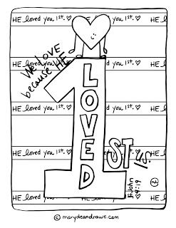 He Loved You First 1 John 4 19 Printable Coloring Page Bible