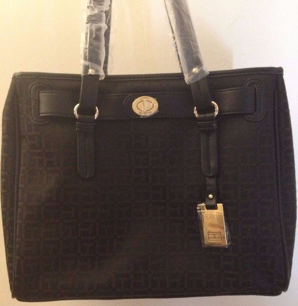 Tommy Hilfiger Black Signature Logo Canvas Shoppers Tote Handbag Ret $85 NWT! #TommyHilfiger #TotesShoppers