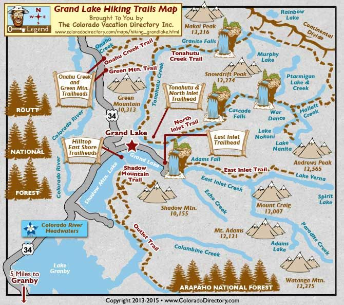 Grand Lake Hiking Trails Map CO Colorado Vacation Directory - Colorado waterfalls map