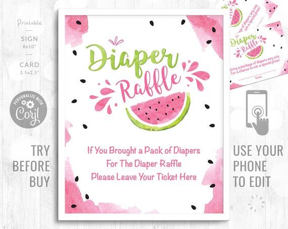 Diaper Raffle Watermelon Baby Shower Activity Printable Editable Baby Shower Game Diaper Sign and Ca