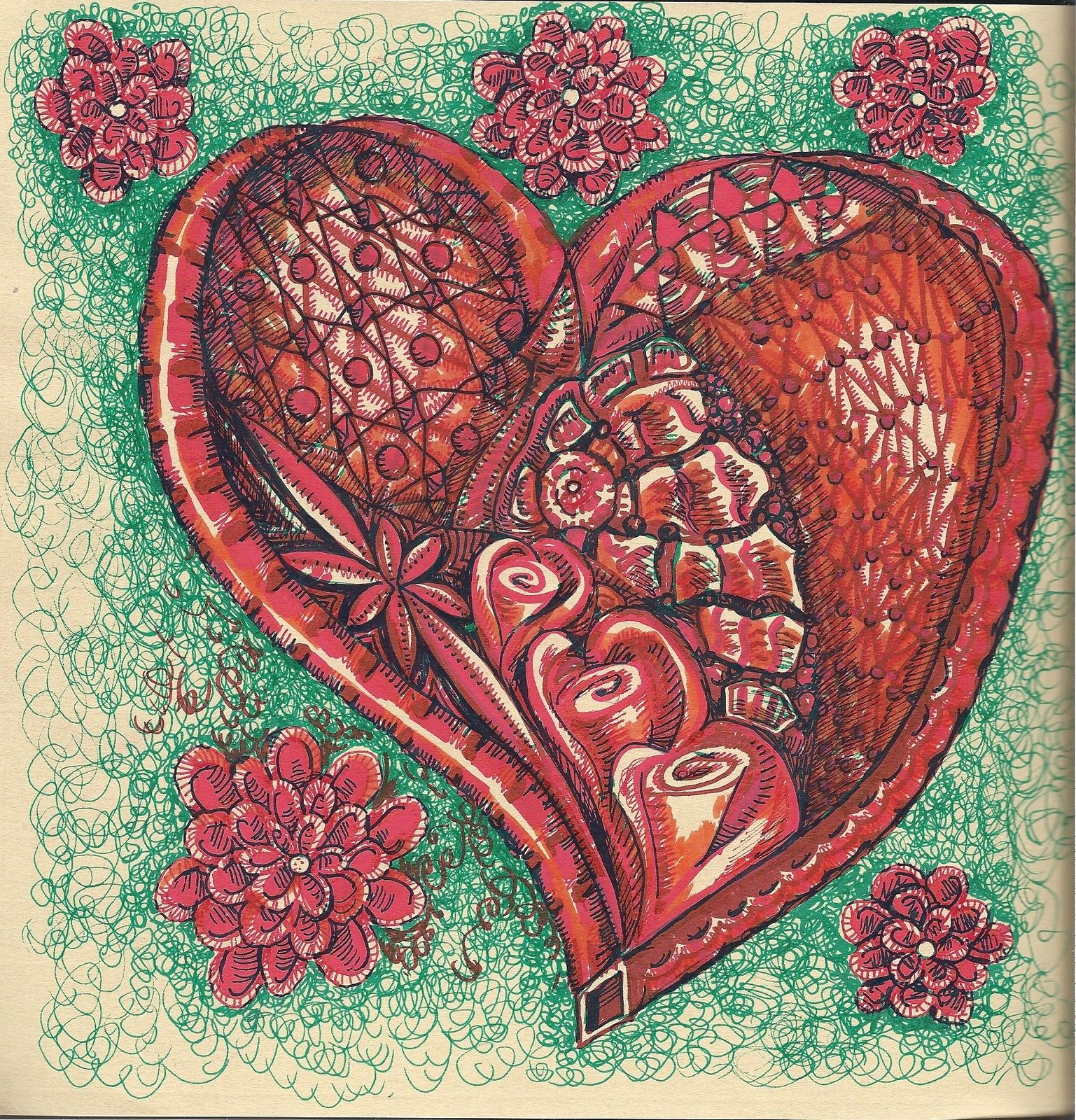 """Zentangle Hearts Instructions 