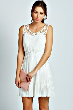 Tiana Lace And Pearl Embellished Skater Dress