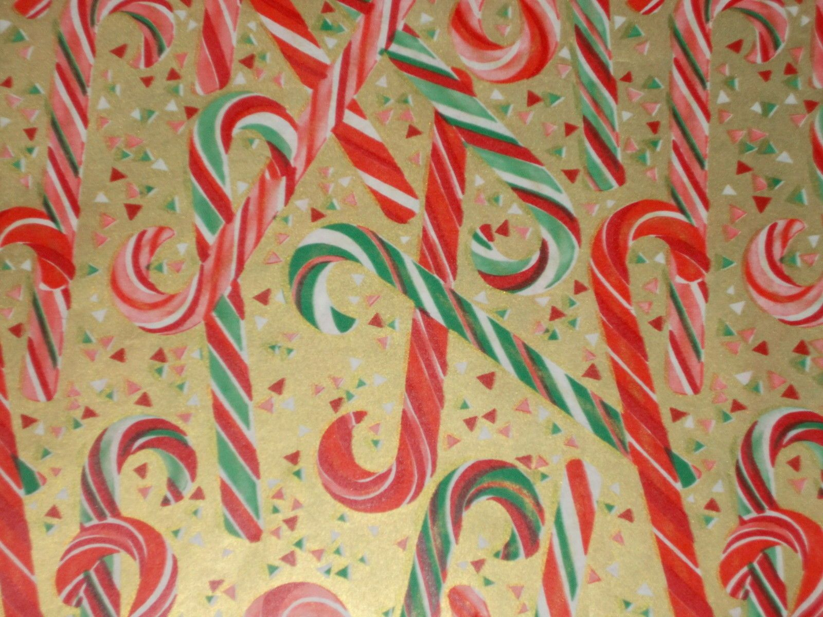 Vtg Christmas Wrapping Paper Gift Wrap Mcm Gold With Candy