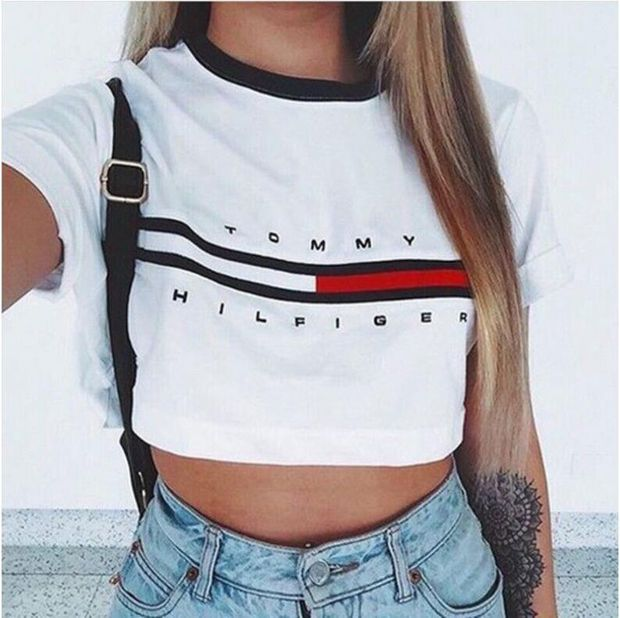 "White ""Tommy Hilfiger"" Letter and Logo Print T-Shirt ..."