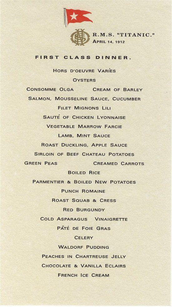 RMS Titanic, Ship of Dreams Titanic, Menu and History - dinner menu