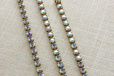 3 Vintage Rhinestone Bracelets Set AB Iridescent Blue Purple 1950s Deadstock NOS