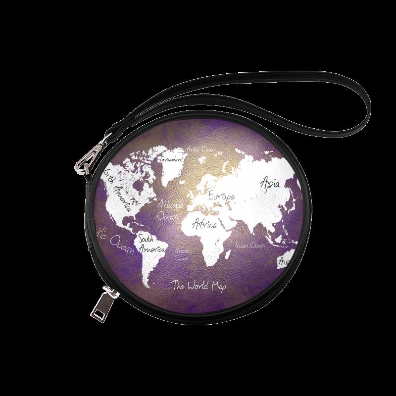 world map Round Makeup Bag (Model 1625)