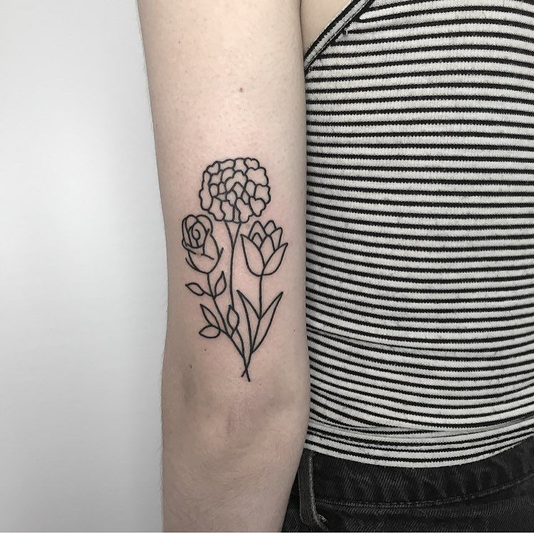 Simple Flower Tattoo On The Back Of The Arm With Images Simple