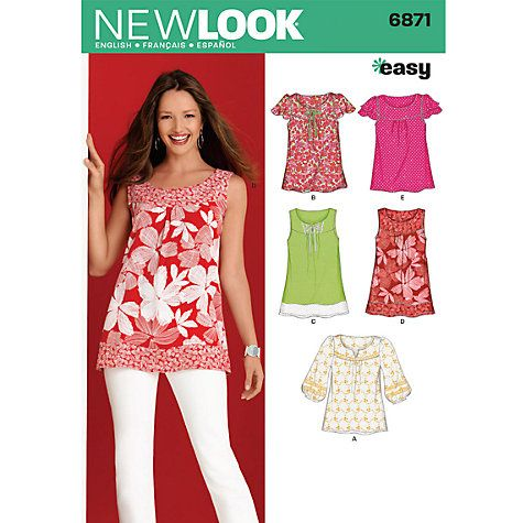 Buy Simplicity New Look Tops Dressmaking Leaflet, 6871 Online at ...