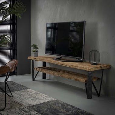 Banc Tv Bois Brut Recycle 2 Niveaux Omsk En 2020 Meuble Bois Brut Mobilier De Salon Meuble Tv Bois