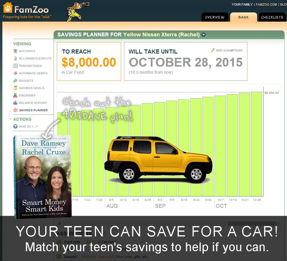 Your teen CAN save for a car. Try the 401DAVE plan: used, cash, parent-matched savings.