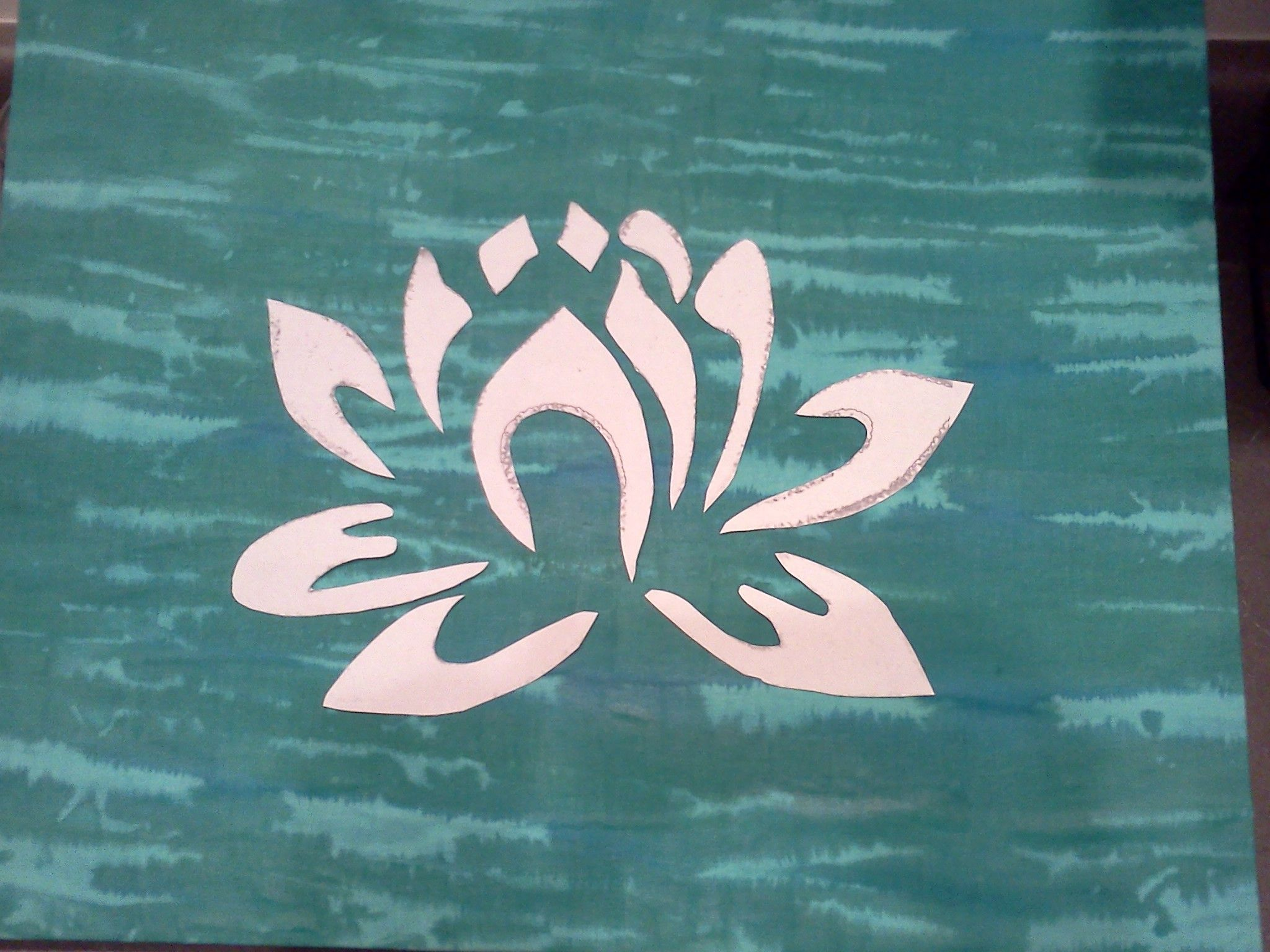 Lotus Flower Stencil Before Painting The Canvas Craft Ideas