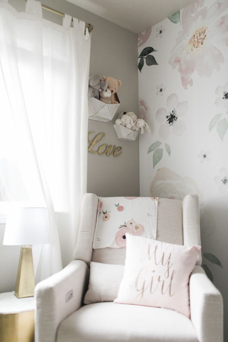 Light and Airy Floral Nursery | Floral nursery, Project nursery ...