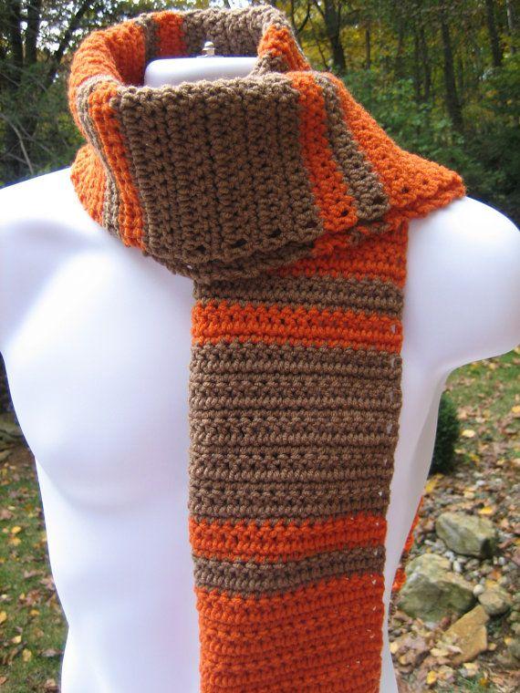 Crocheted Scarf   Brown and Orange  Extra Long by CrochetByCarolyn, $25.00