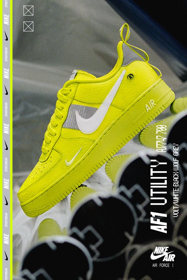 Men's Nike Air Force 1 Utility. Volt white black