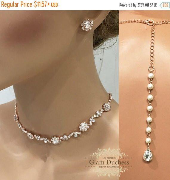 Rose Gold Bridal Jewelry Set bridal necklace Handmade Crystal