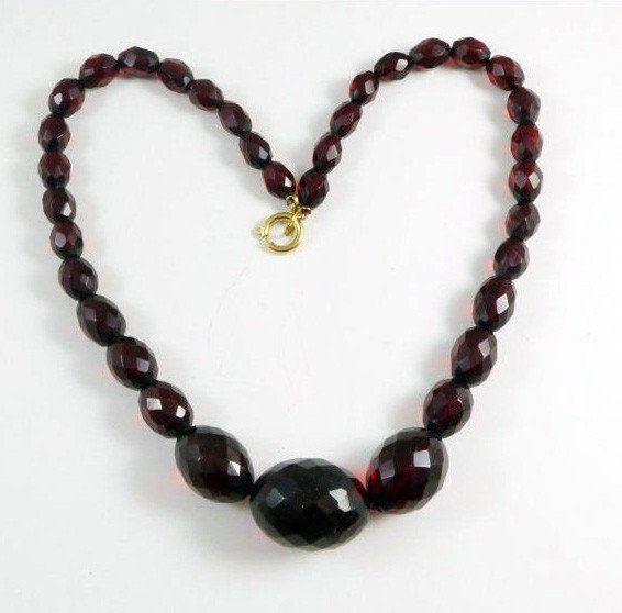 Cherry Bakelite Graduated Bead Necklace, Art Deco