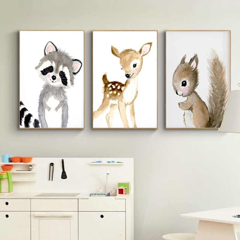 Nursery Woodland Wall Art Rabbit Deer Canvas Painting Baby Animal Posters And Prints Neutral Squirrel Pictures For Living Room Aliexpress Kids Room Prints Baby Room Paintings Woodland Nursery Wall Art