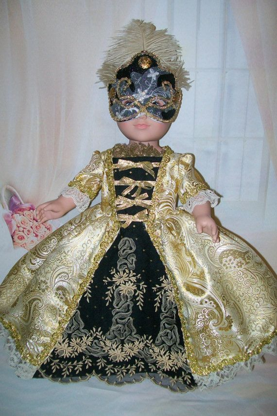 000278fbfbd4 RESERVED Custom Order For (Silvana)French Marie Antoinette Style Gown -  Stunning Masquerade Gown With Mask For 18 Dolls