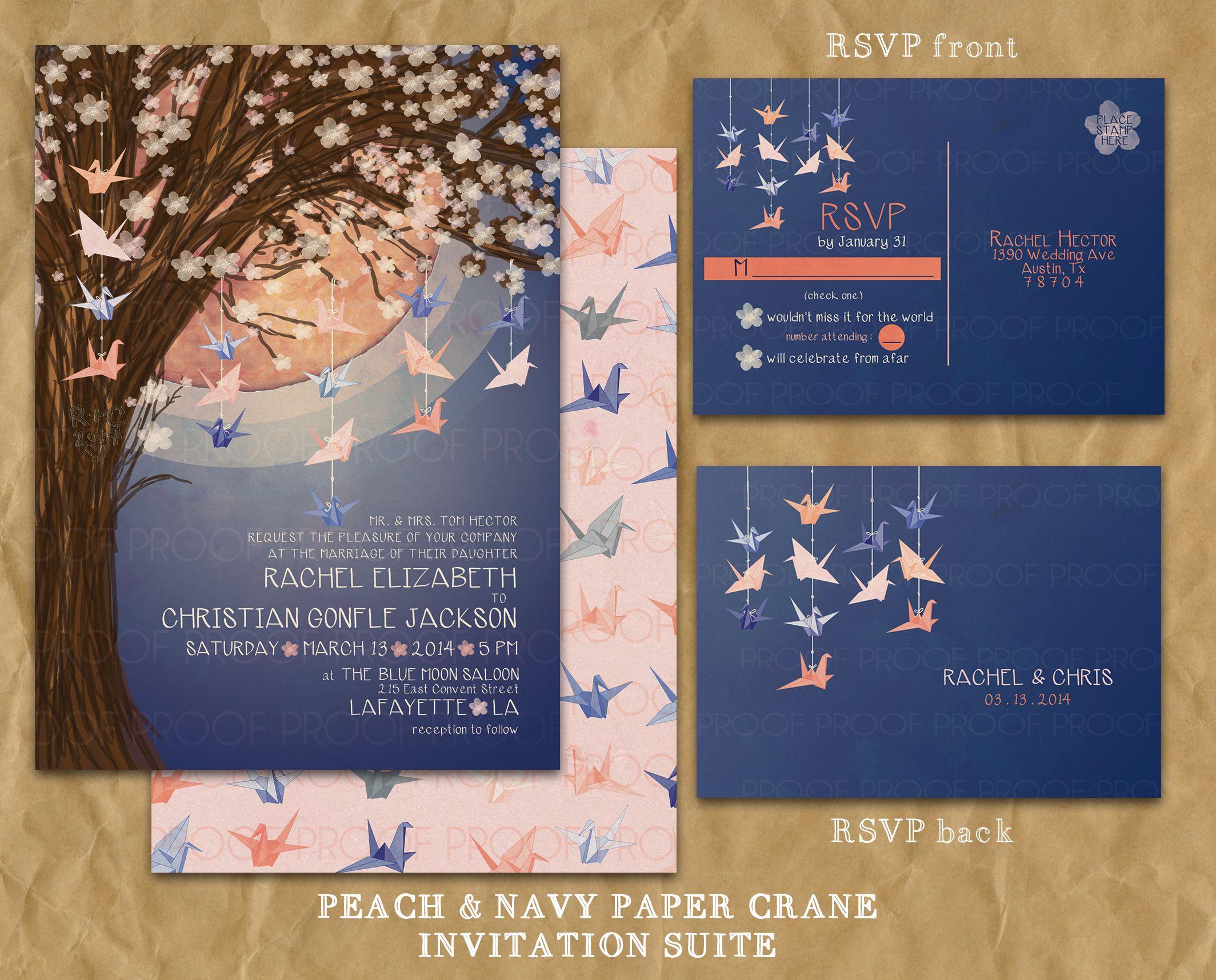 Navy And Peach Wedding Invitations: Paper Crane Moon Wedding Invitation // Navy And Peach