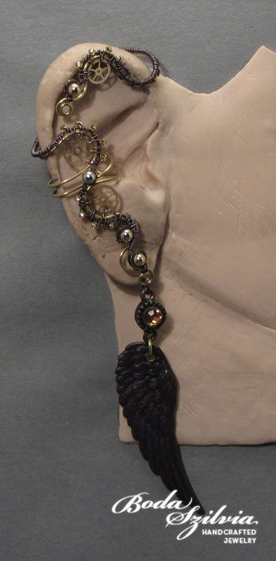 SUNSHINE - OOAK winged steampunk brass ear wrap with post earring. $48.50, via Etsy.