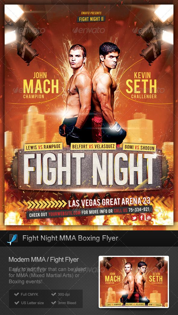 Fight Night Mma Boxing Flyer Mma Boxing Fight Night And Mma