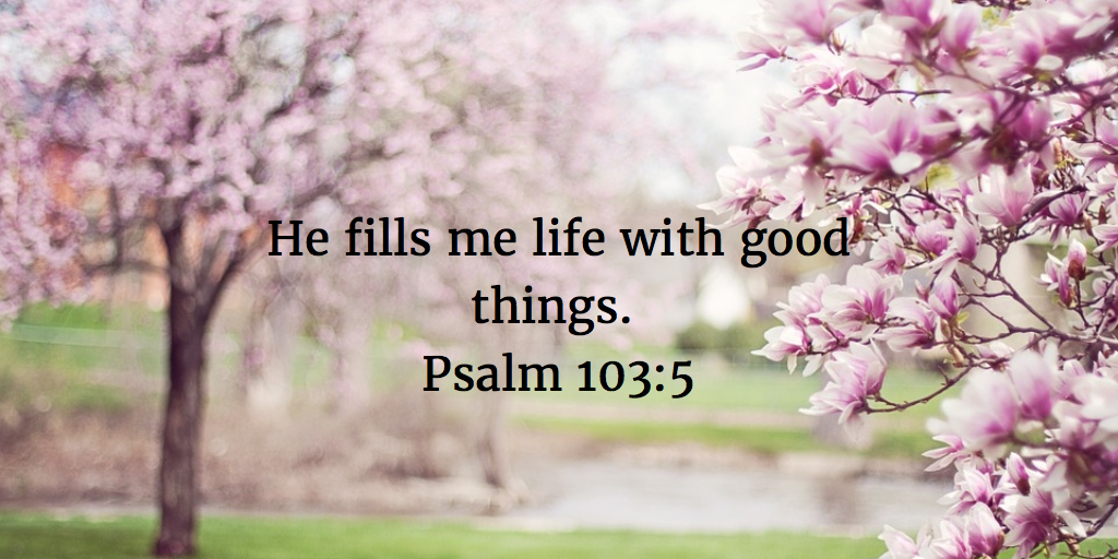 He Fills My Life With Good Things Psalm 103 5 Christian Counseling Words Of Encouragement Life