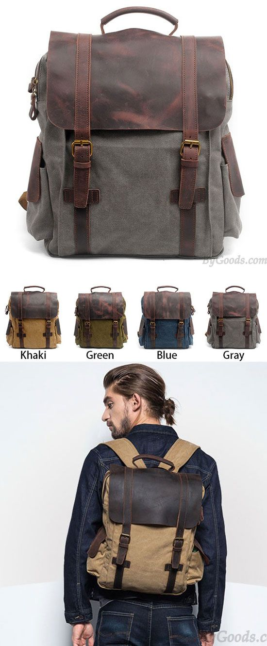 Retro Handmade Outdoor Large Rucksack Cowhide Leather Splicing Thick Canvas  School Backpack is so cool!  retro  Handmade  leather  canvas  backpack  Bag  ... d802420919