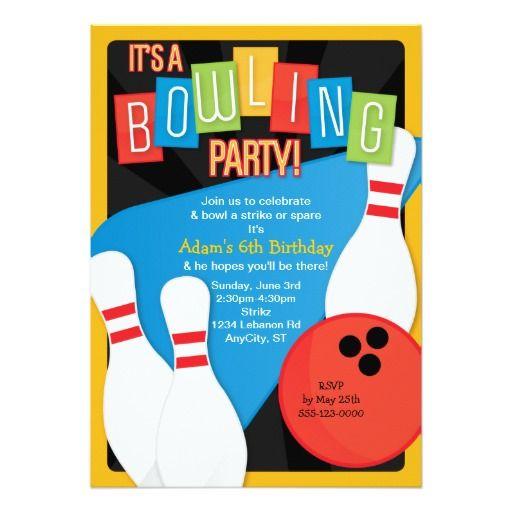 Retro Bowling Kid S Birthday Party Invitation Zazzle Com