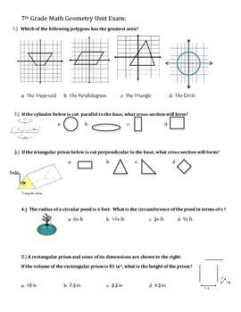Geometry Unit Exam ~ 7th Grade Common Core Exam | Math Maker