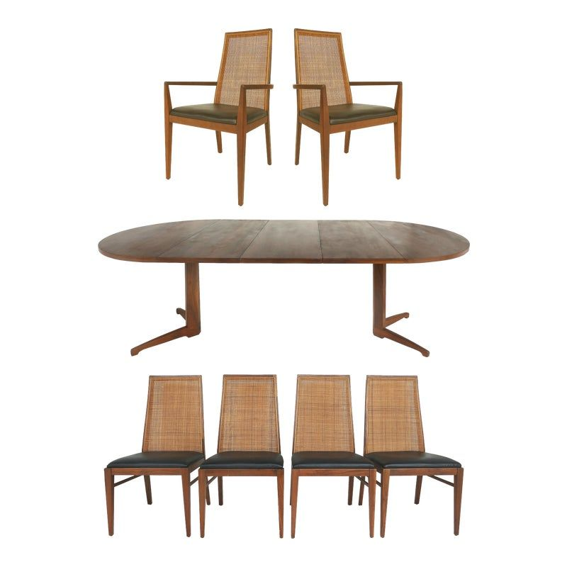 Foster Mcdavid Mid Century Modern Dining Set Table Chairs Set Of 7