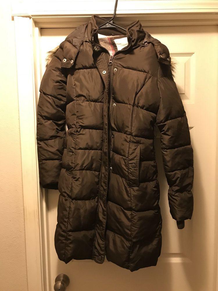 Women S Aeropostale Aero Ny87 Puffer Coat Jacket Brown Fur Hood