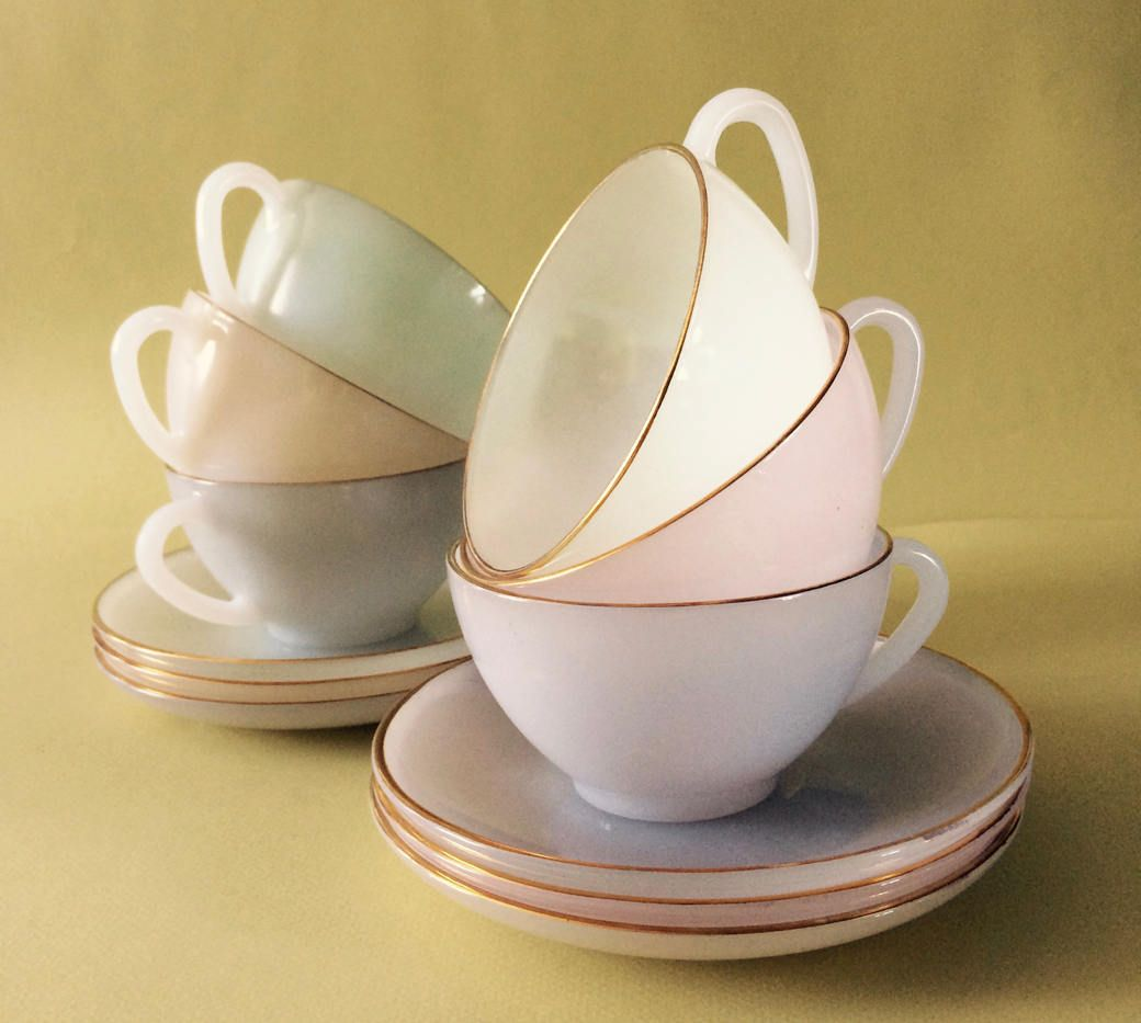 Arcopal Opalescent tea,cafe au lait,cafe creme cups.Retro French vintage coffee cup saucers pastel colors Tea Set,gold rim,glass tea cup by frenchvintagebazaar on Etsy