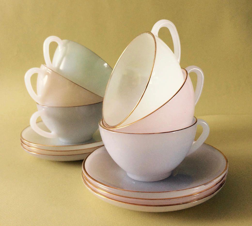 Arcopal Opalescent tea,cafe au lait,cafe creme cups.Retro French ...