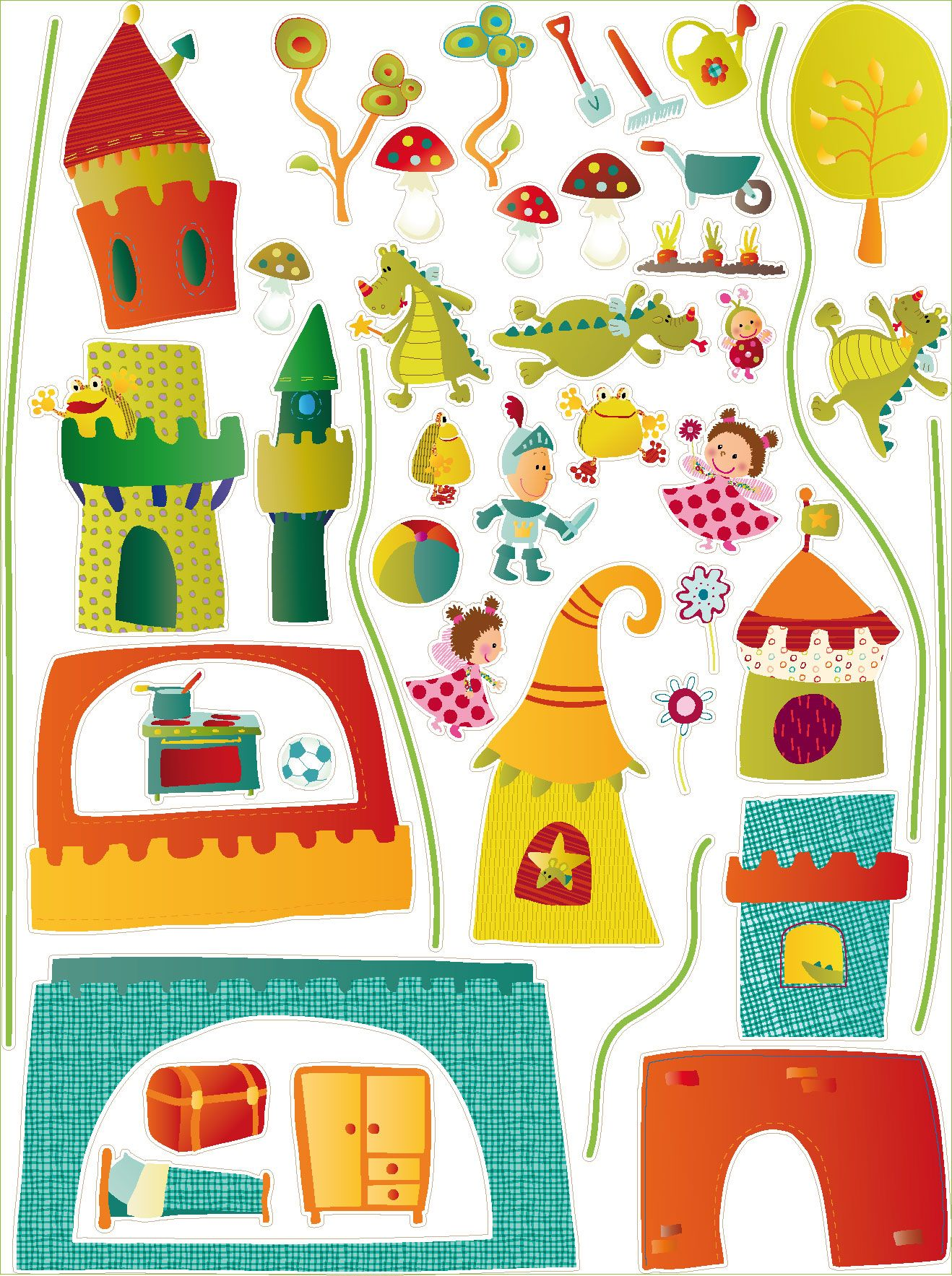 very small stickers inside the wendy house lilliputiens a fantasy knight princess castle dragon wall stickers so cute walter stickers from lilliputiens