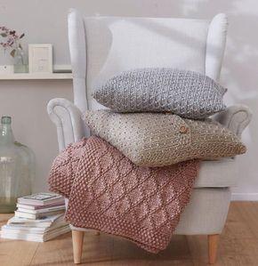 anleitung plaid und kissen stricken stricken kissen. Black Bedroom Furniture Sets. Home Design Ideas