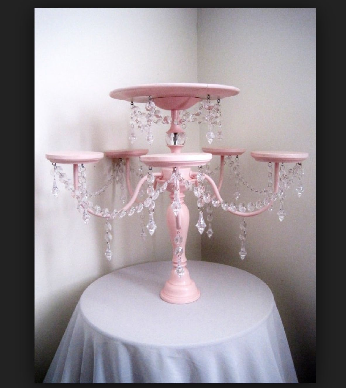 Diy cup cake stand diy cakecupcake stands pinterest cup cakes crystal chandelier cake and cupcake stand by shabulouschandeliers arubaitofo Image collections
