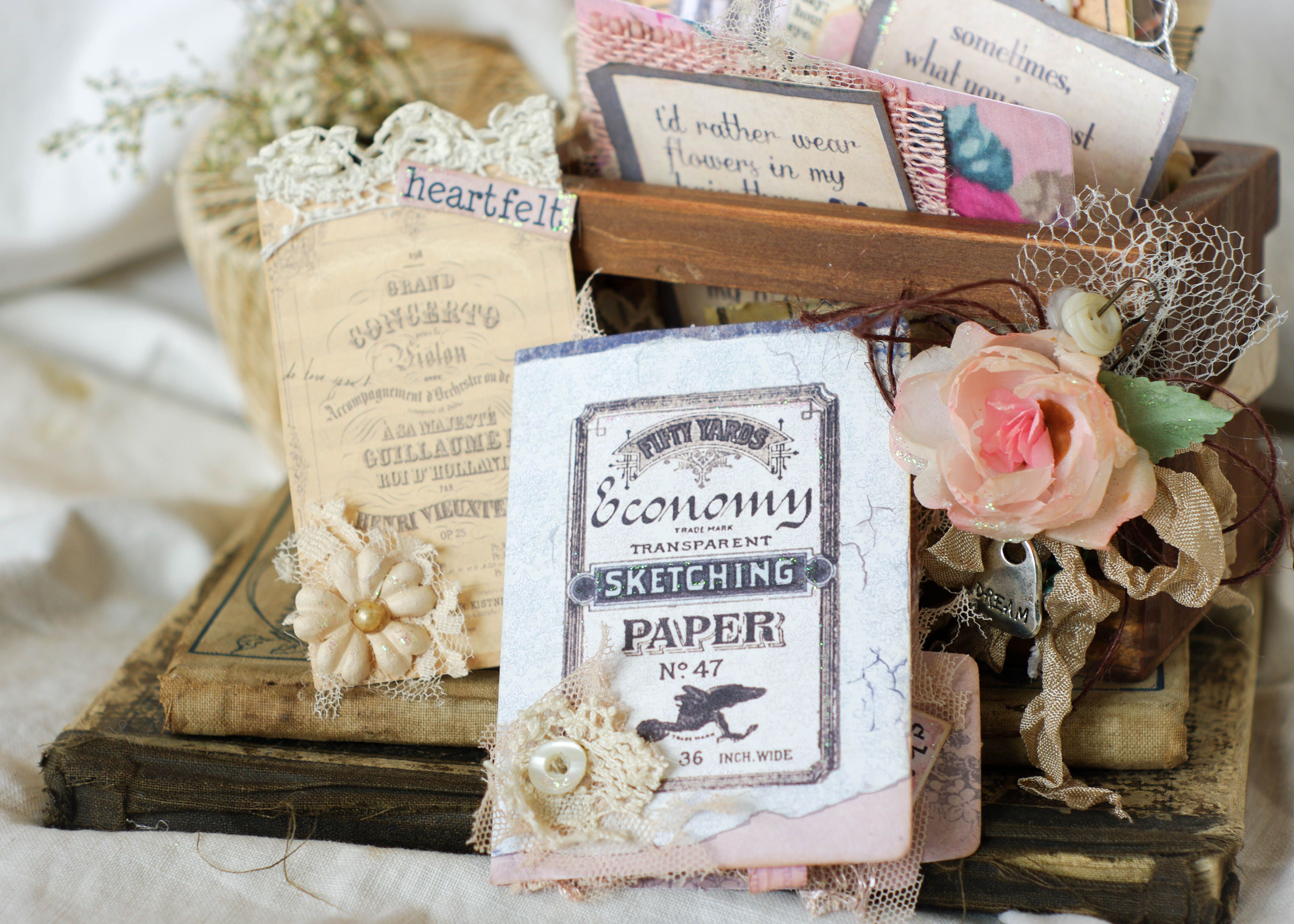 Put it in the file - a vintage ATC file folder that is - the perfect place to store handmade ATC's, little notes, little quotes, little moments or little secrets.  They fit just right in our 7gypsies ATC crates #gypsymoments
